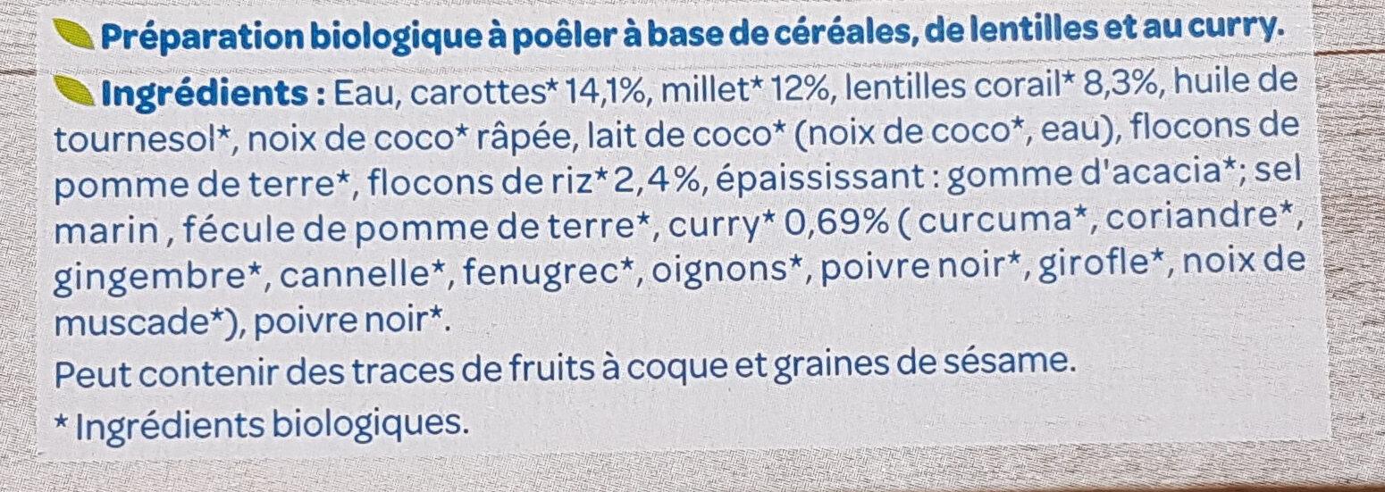 Galettes céréales lentilles et curry - Ingrédients - fr