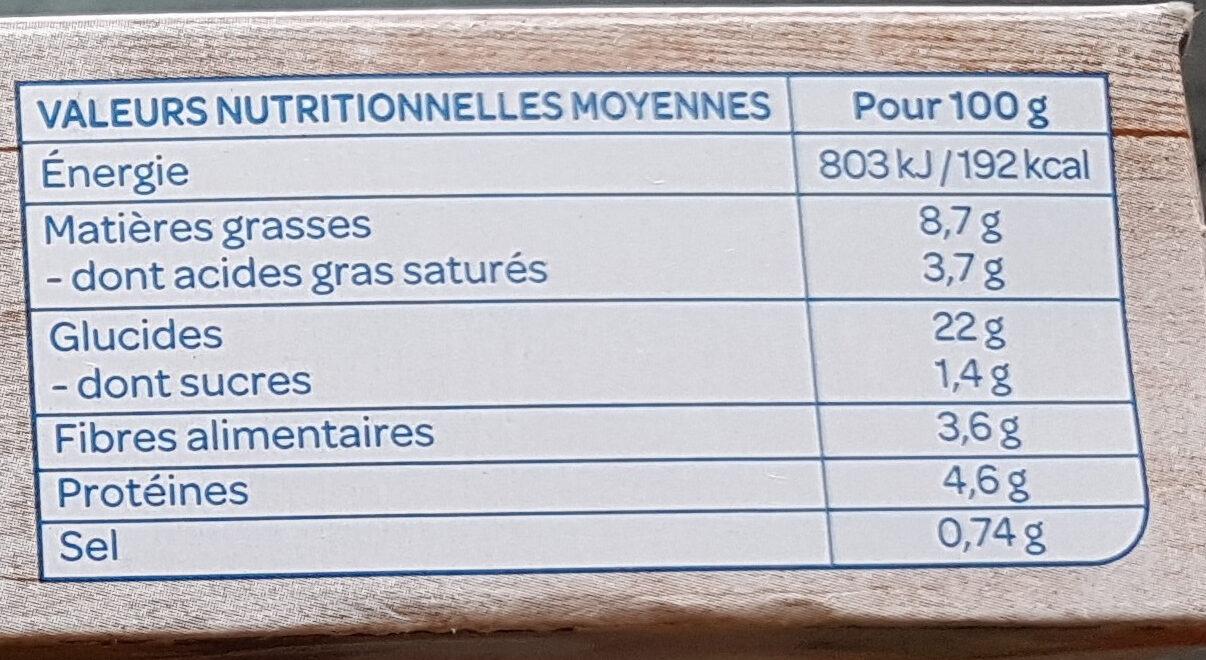 Galettes céréales lentilles et curry - Informations nutritionnelles - fr