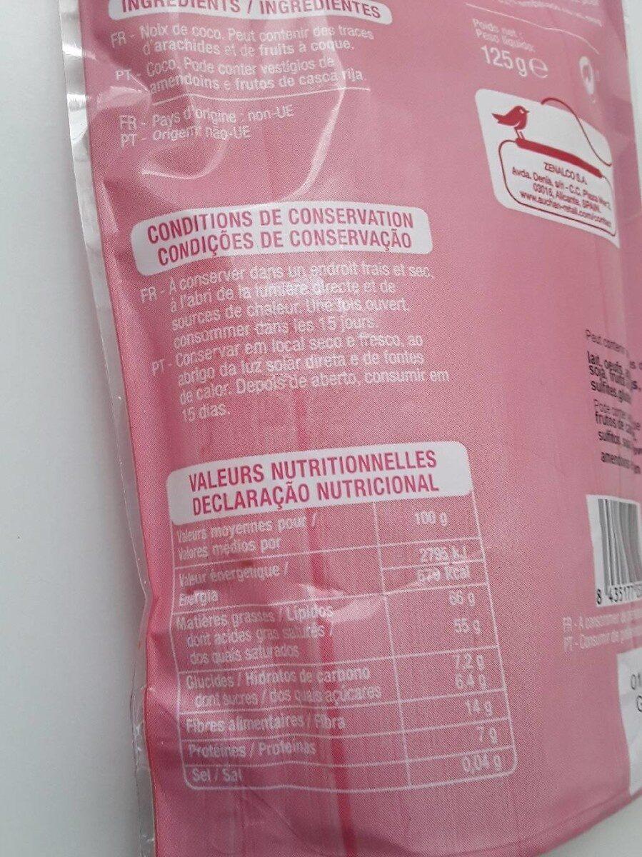 Noix de coco rapee - Informations nutritionnelles