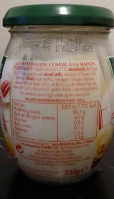 mayonnaise Bénédicta - Ingrédients - fr