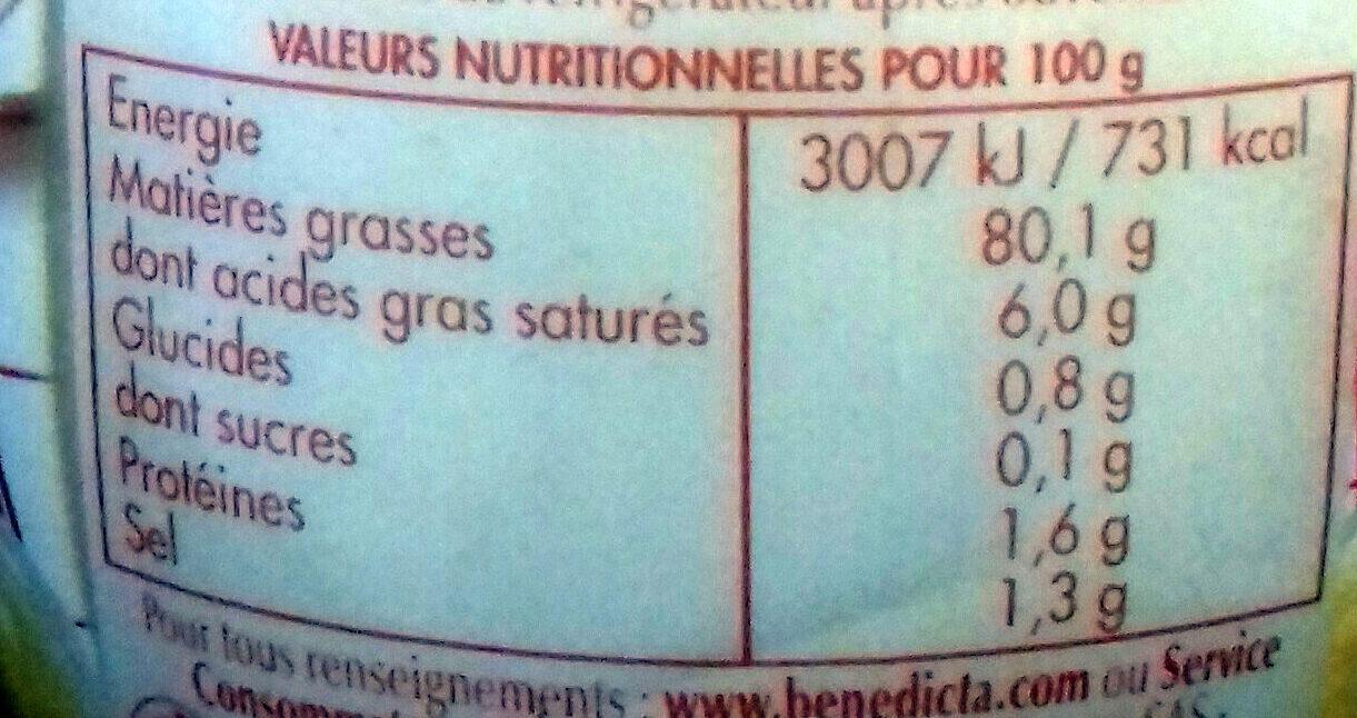 mayonnaise Bénédicta - Informations nutritionnelles - fr