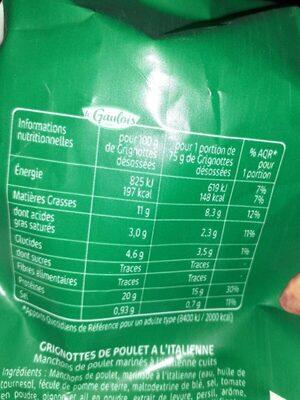 Grignottes à  l'italienne - Valori nutrizionali - de