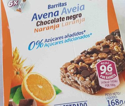 barritas avena chocolate negro naranja hacendado - Producto