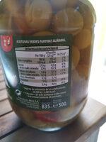 Aceitunas aliñadas - Información nutricional - es