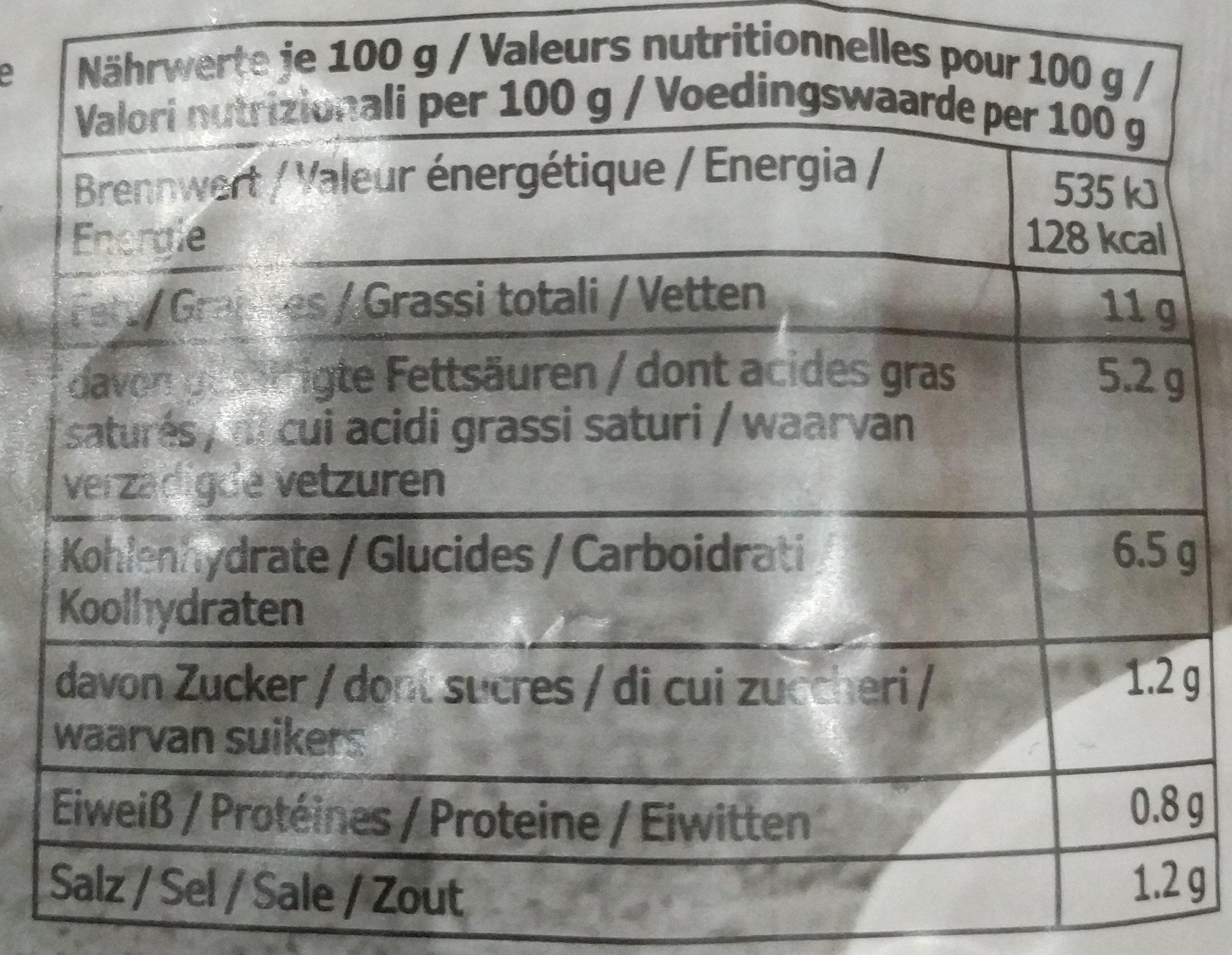 Sauce Citron & Aneth - Informations nutritionnelles