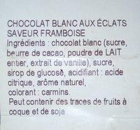 chocolat blanc saveur framboise - Ingrédients