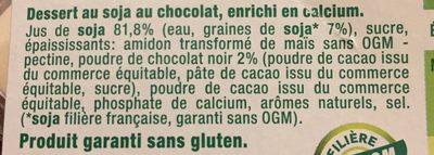 Sojasun chocolat - Ingrédients - fr