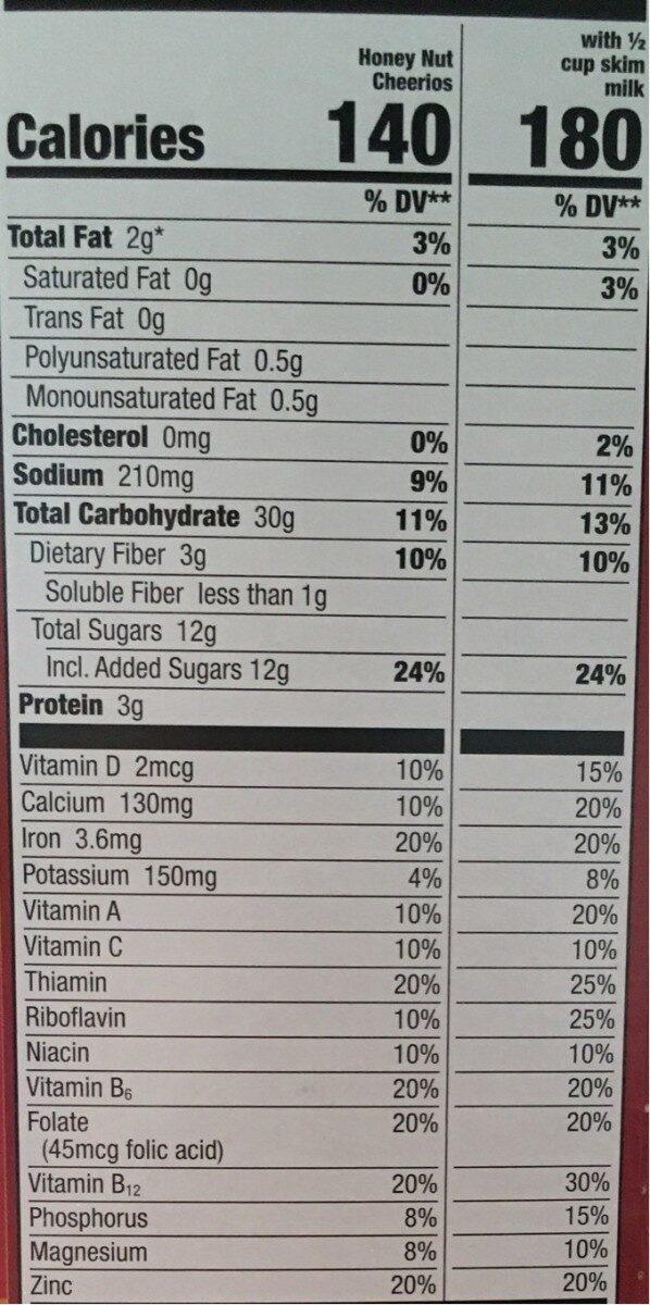 Cheerios - Nutrition facts