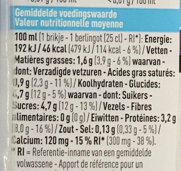 Lait sans lactose demi-écrémé - Informations nutritionnelles