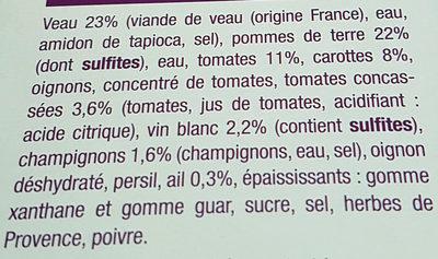 Veau Marengo et Pommes de Terre - Ingrédients - fr