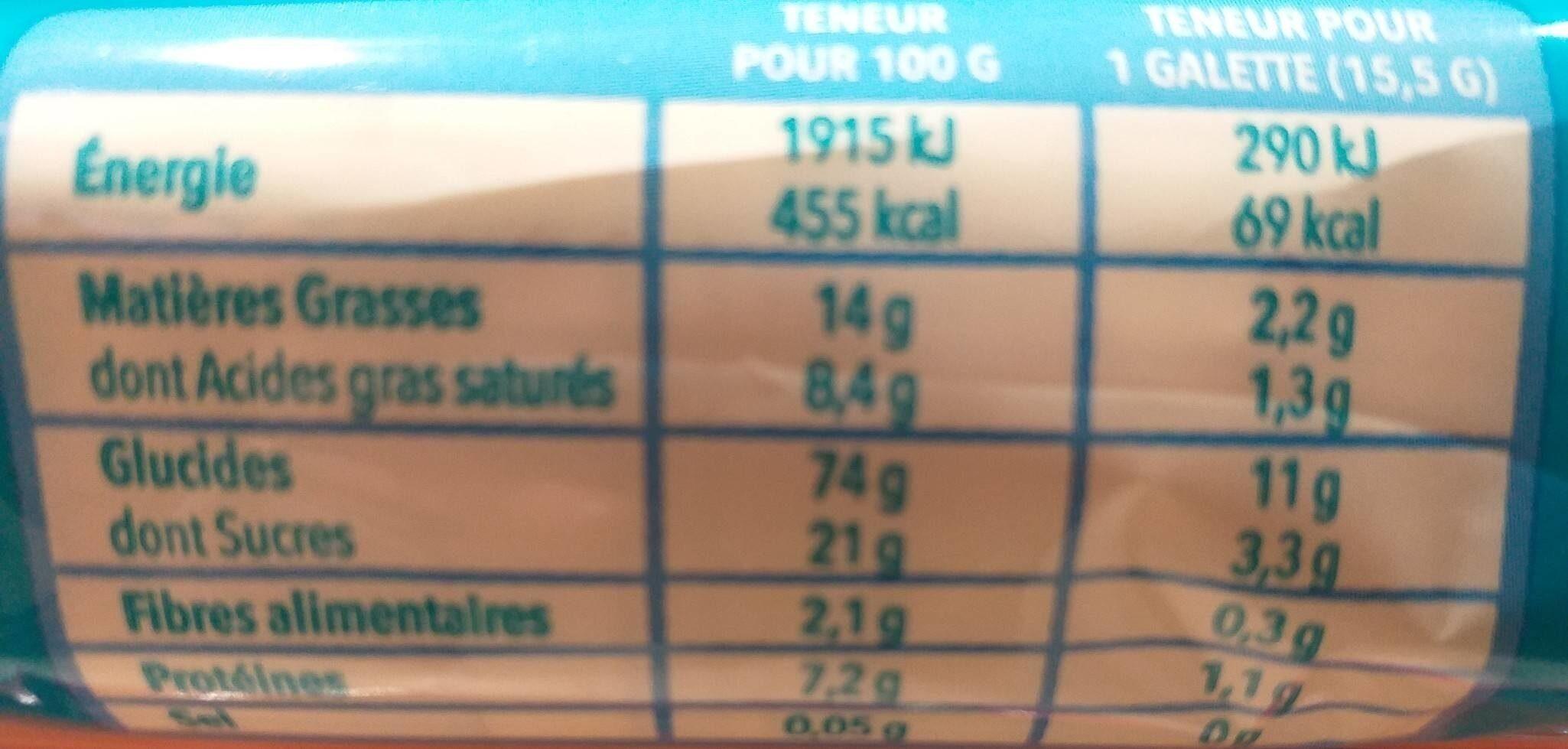 Galette maïs chocolat au lait - Informations nutritionnelles - fr