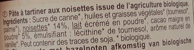 Pâte à tartiner aux noisettes - Ingrediënten