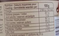 Pâte à tartiner aux noisettes - Voedigswaarden