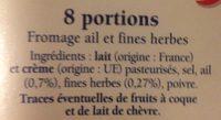 Ail et fines herbes 8 portions - Ingrédients - fr