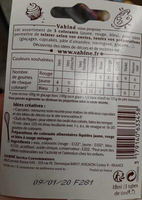 Colorants alimentaires - Informations nutritionnelles - fr