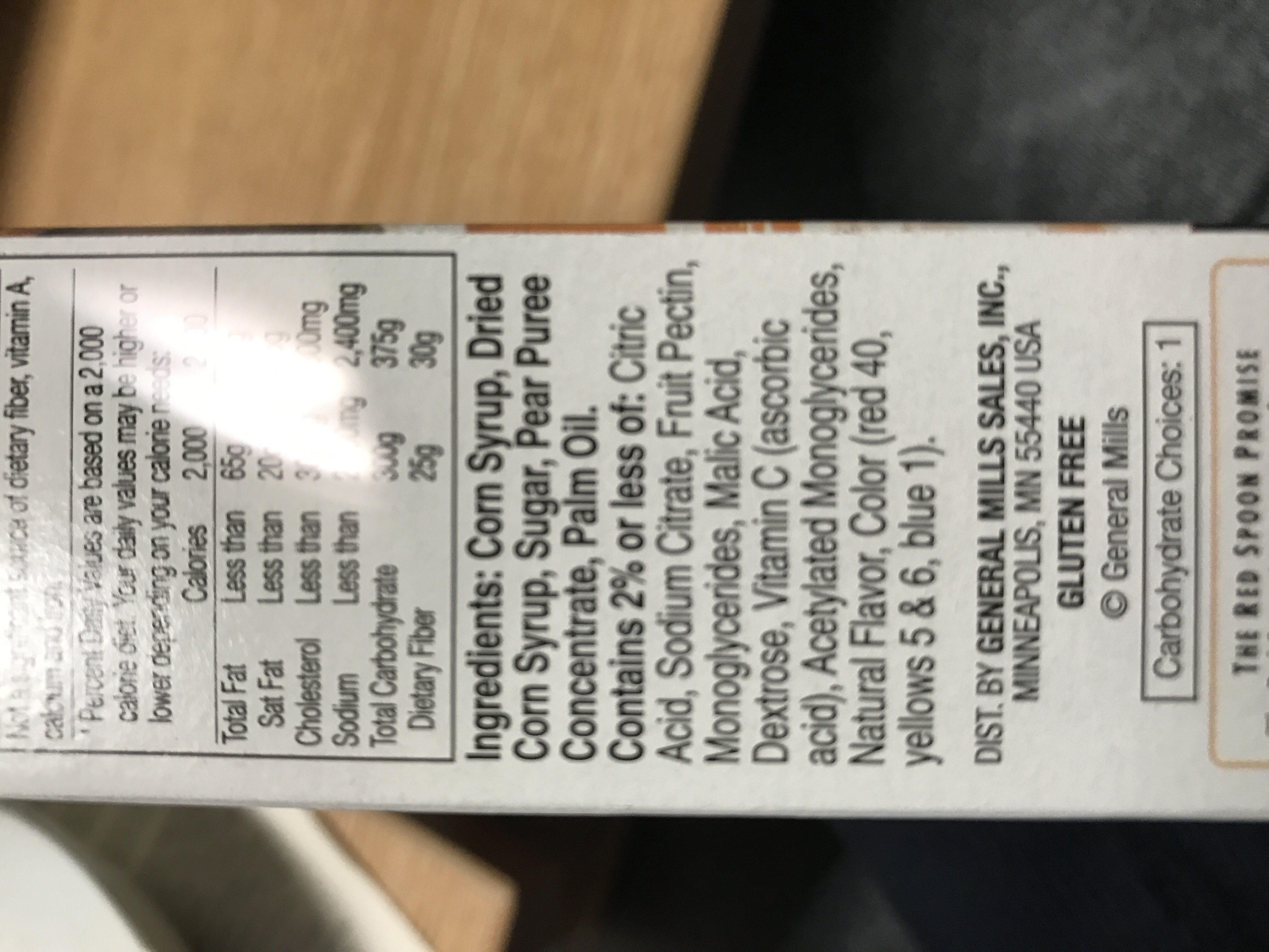 Fruit roll-ups - Ingredients - en