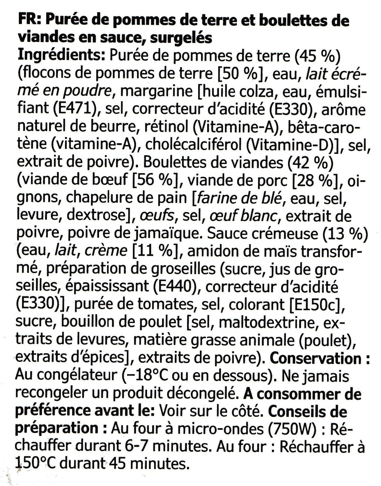 Köttbullar med Potatismos Och Gräddsås - Ingrédients - fr