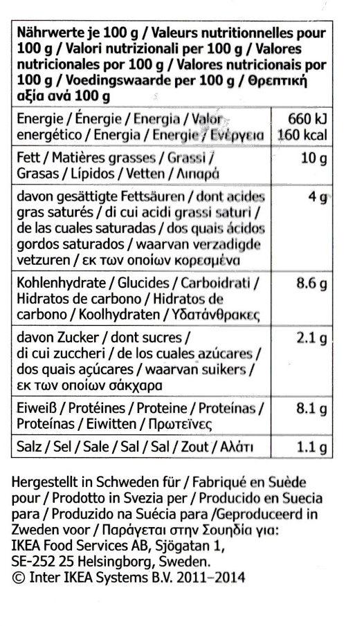 Köttbullar med Potatismos Och Gräddsås - Informations nutritionnelles - fr
