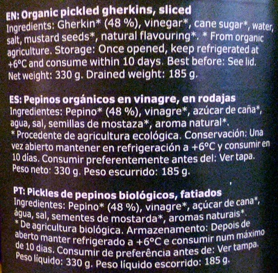 Organic pickled gherkins - Ingredients