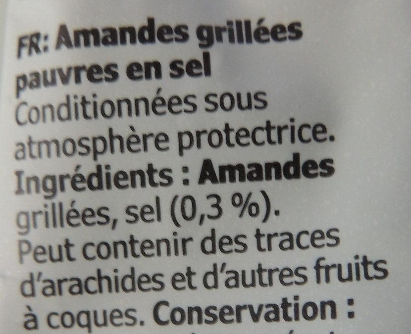 Amandes grillées pauvres en sel - Ingredients