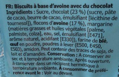 Biscuit Avoine et Chocolat - Ingredients