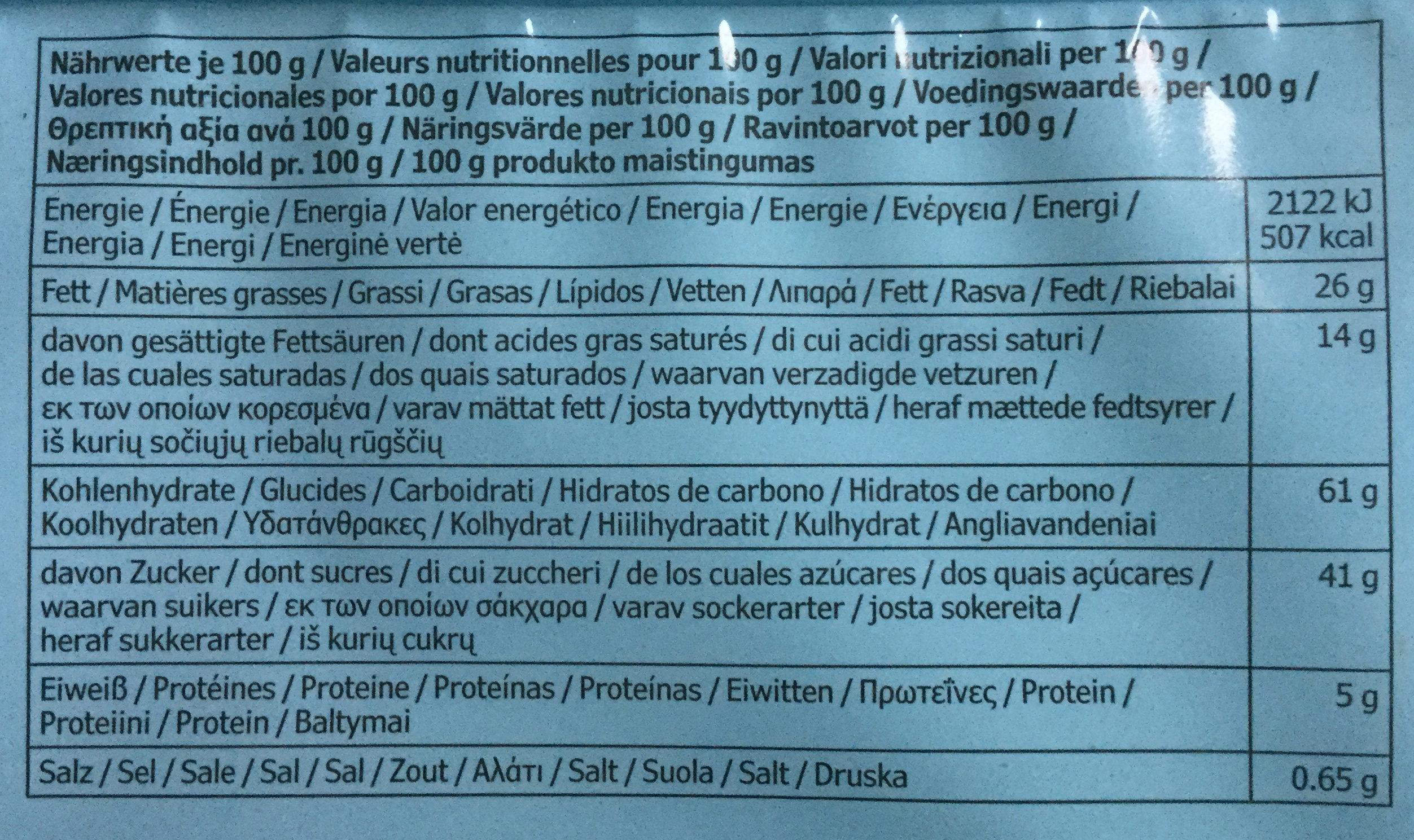 Biscuit Avoine et Chocolat - Nutrition facts - en