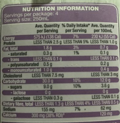 Inner goodness long life rice milk - Nutrition facts