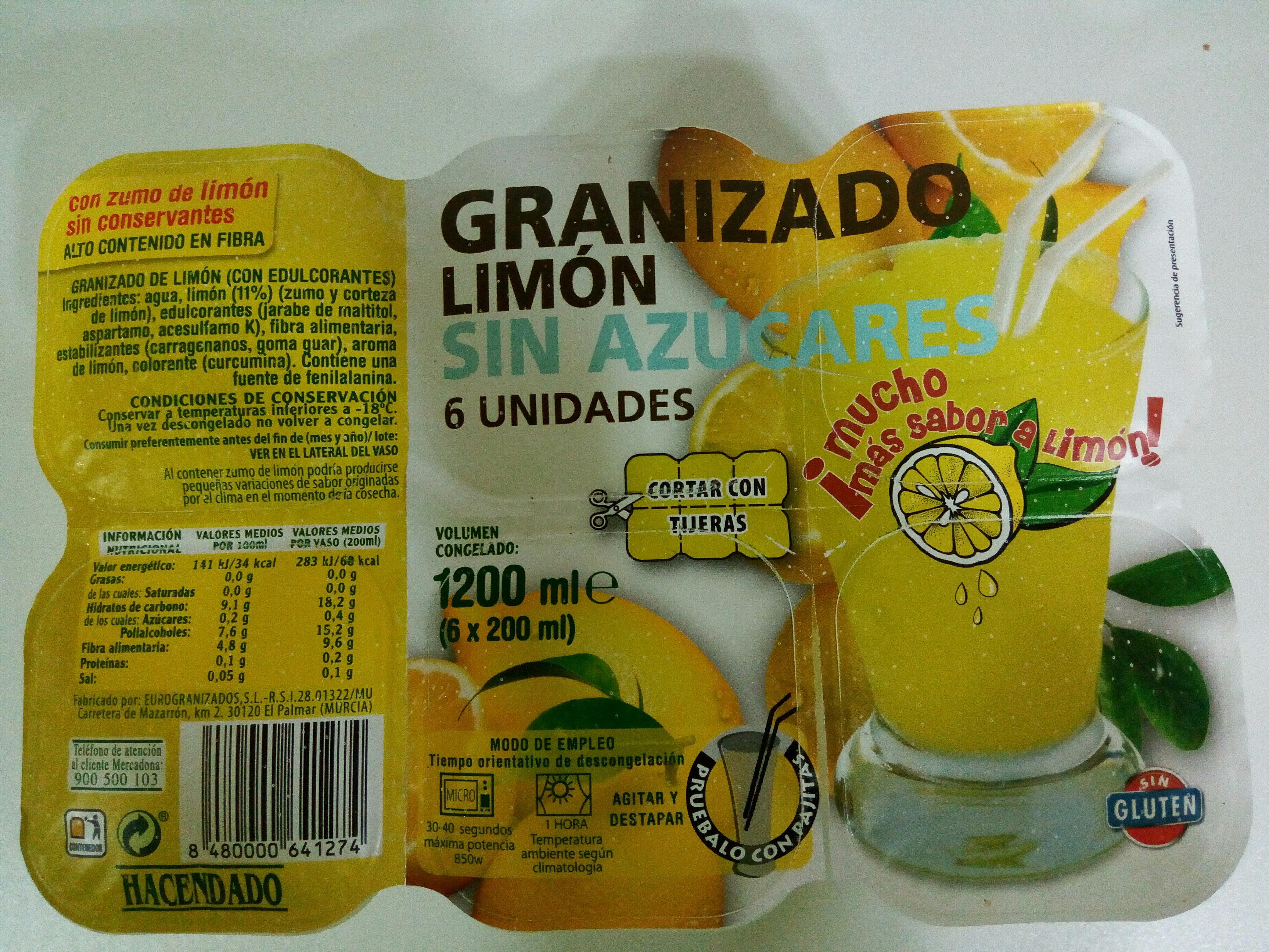 Granizado Limón Sin Azúcares Hacendado 6 X 200 Ml