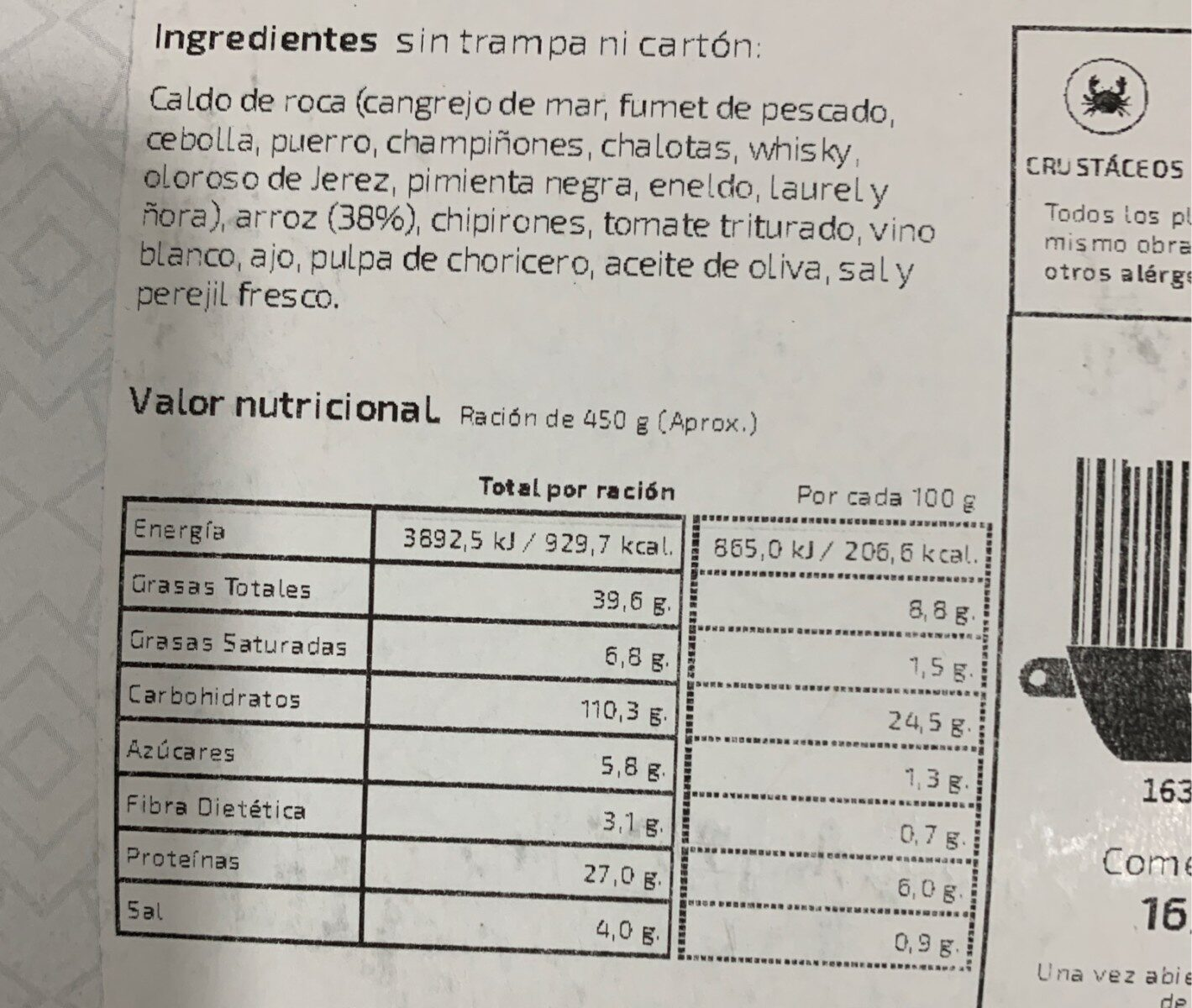 Arroz caldero del mar menor - Informations nutritionnelles