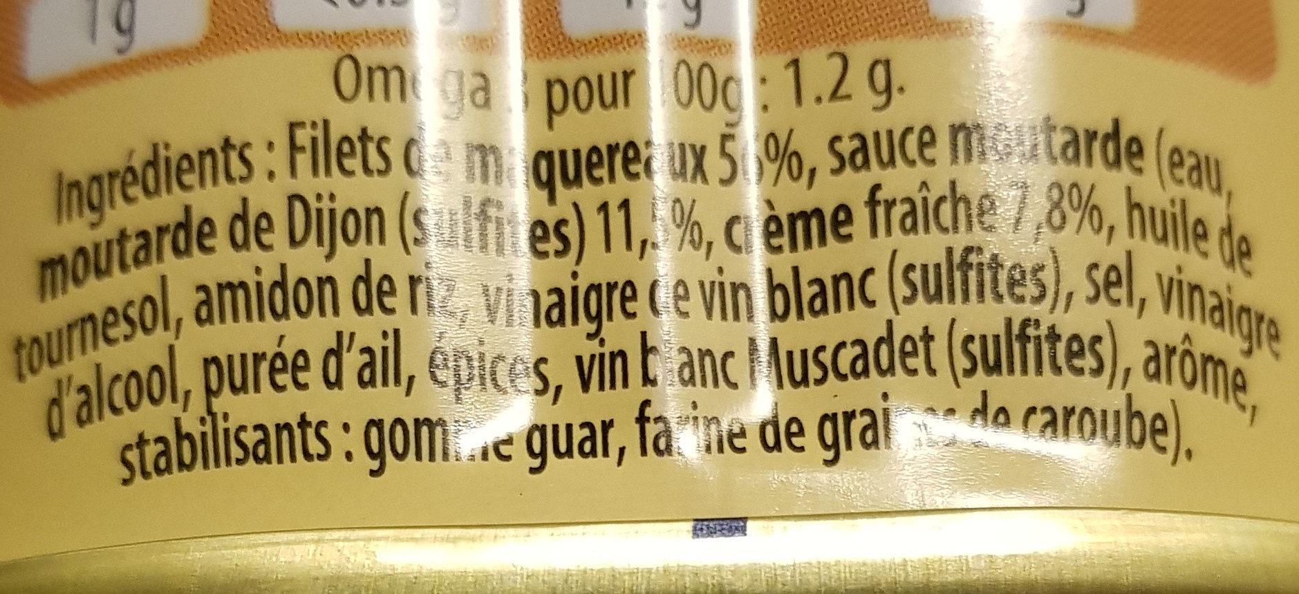 filets de maquereaux sauce crème moutarde - Ingrédients - fr