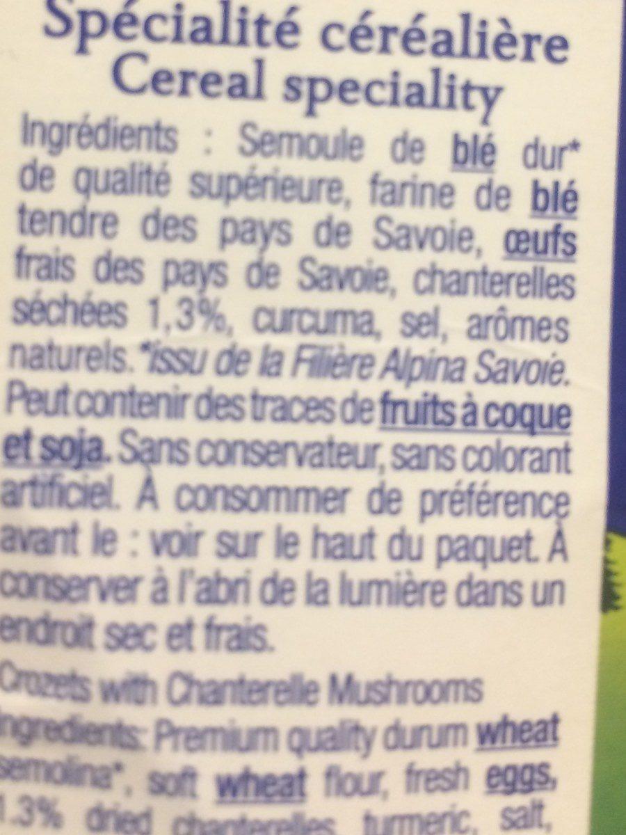 Les Crozets aux chanterelles - Ingrédients - fr