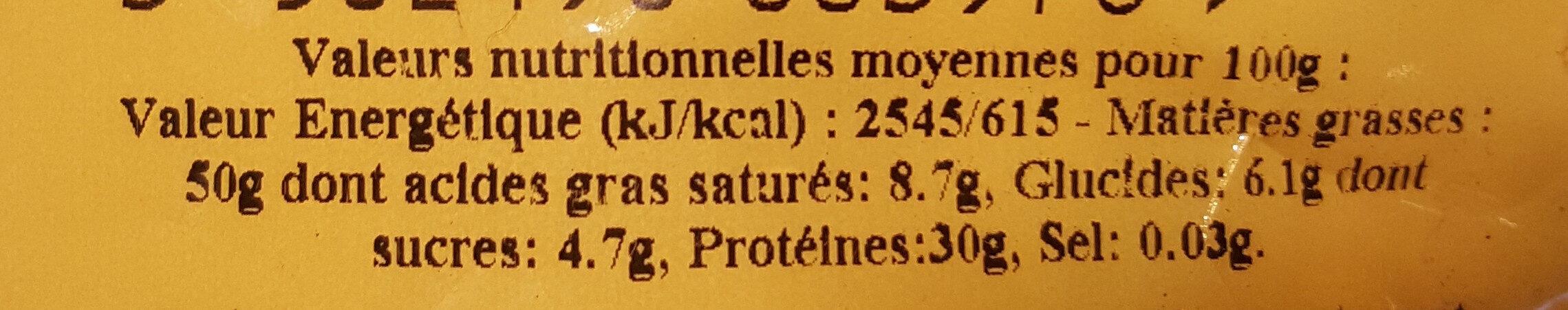 Arachides coques grillées à sec - Informations nutritionnelles - fr