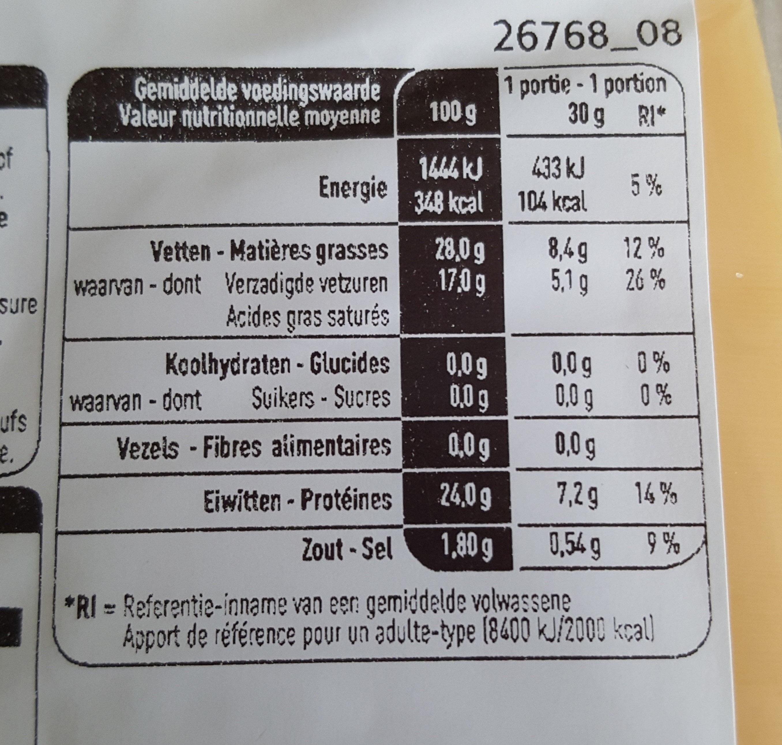 Gouda jeune - Nutrition facts - fr