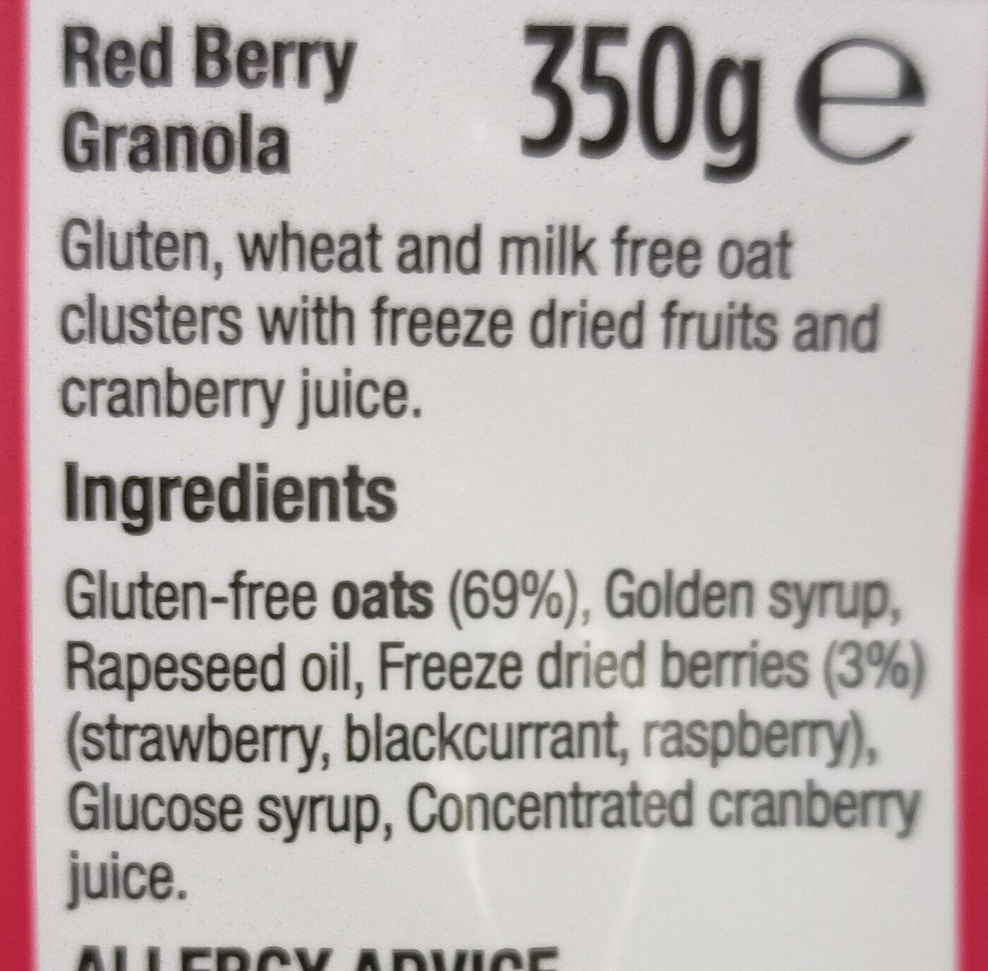 red berry granola - Ingredients - en