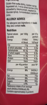 red berry granola - Nutrition facts - en
