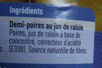 Demi-poires au jus - Ingredients - fr