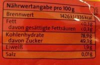 Mango getrocknet in Streifen - Nutrition facts - de