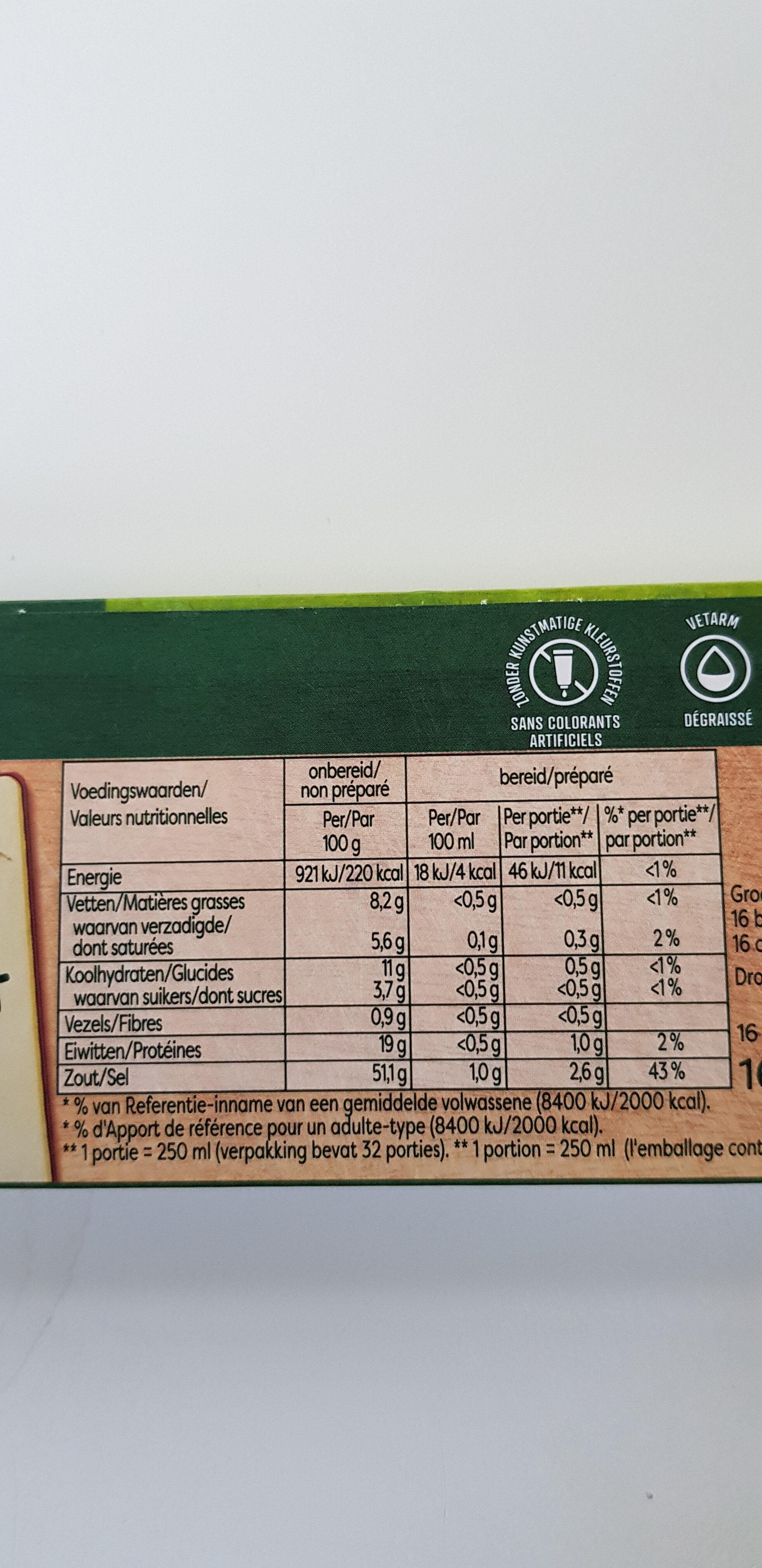 Finesse légumes bouillon - Nutrition facts - fr