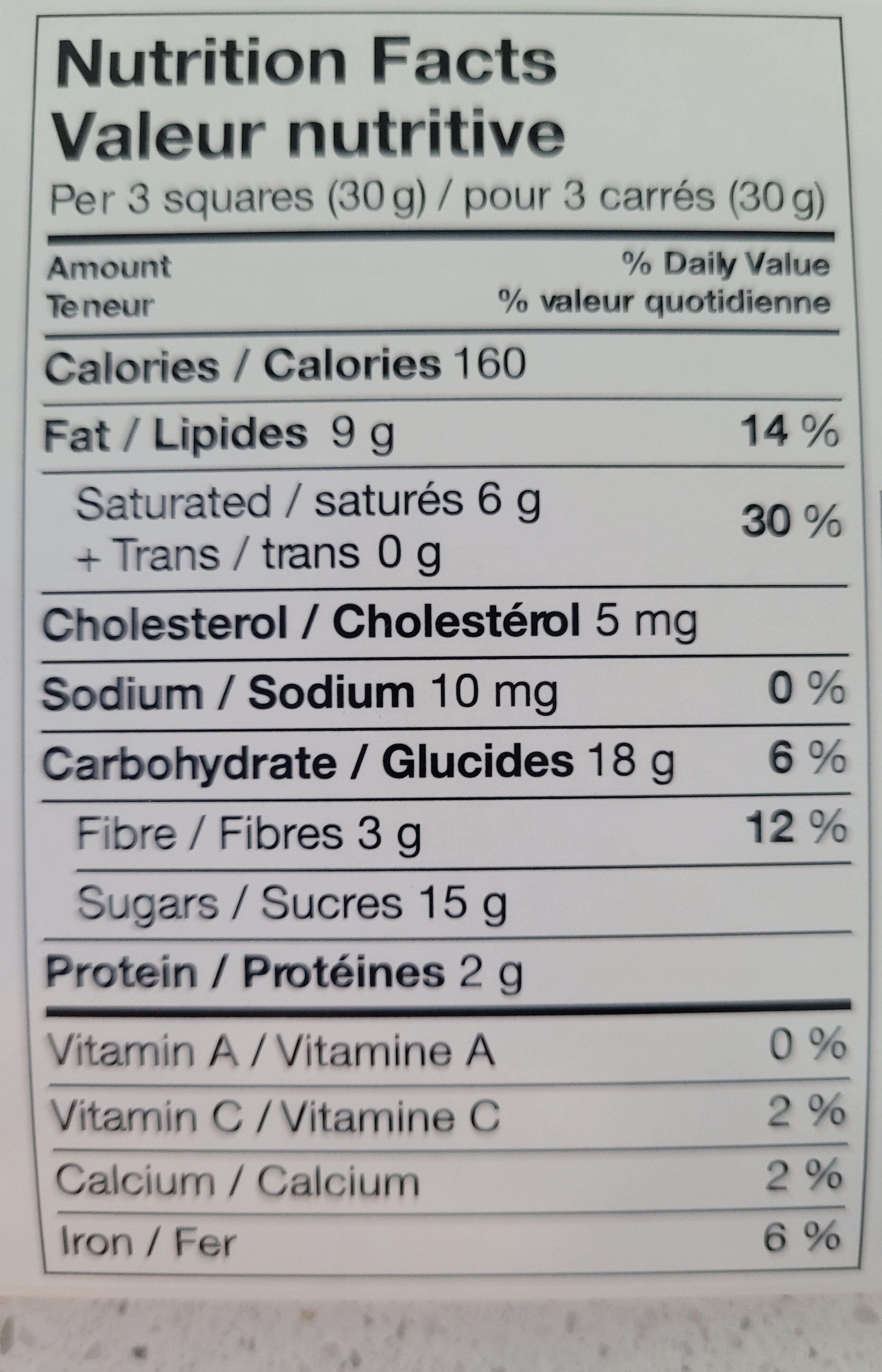 Raspberry Dark - Informations nutritionnelles - en