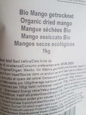 MANGUES SÉCHÉES BIO - Ingrediënten
