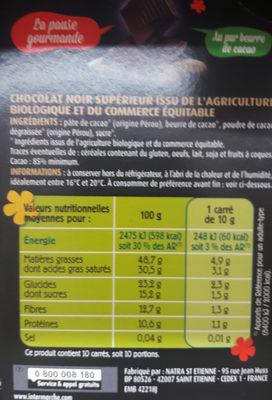 chocolat noir Pérou - Ingrediënten