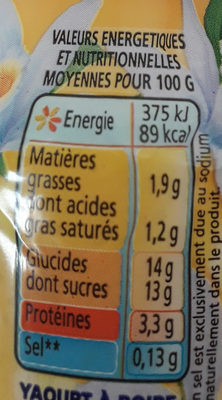 Yop vanille - Nutrition facts - fr