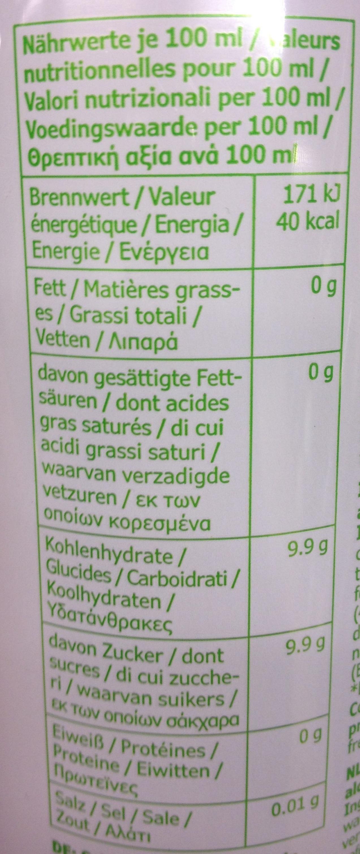 Cidre de pomme - Informations nutritionnelles