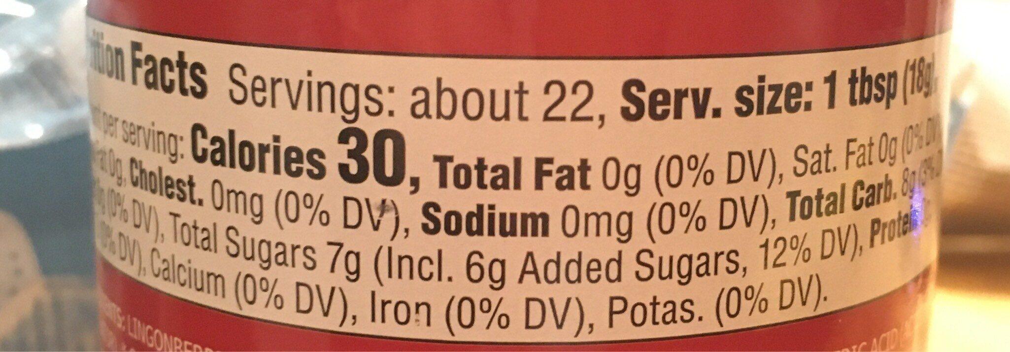 Sylt Lingon - Informação nutricional - en
