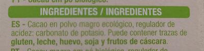 100%CACAO BIO - Ingredients - es