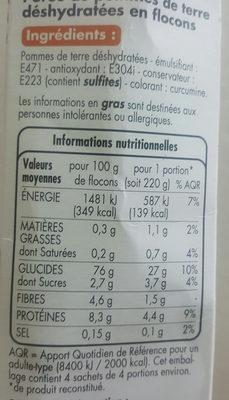 purée de pommes de terre - Ingrédients - fr