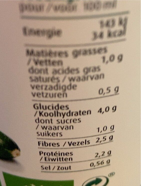 Petits pois, brocoli et courgette Bio - Voedingswaarden - fr