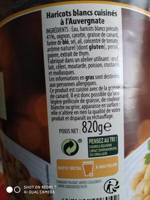 haricots blanc cuisinés à l'Auvergnate - Ingredients - fr
