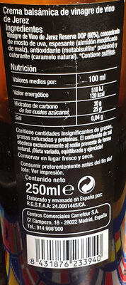 Crema de Jerez balsámica - Ingredients - es