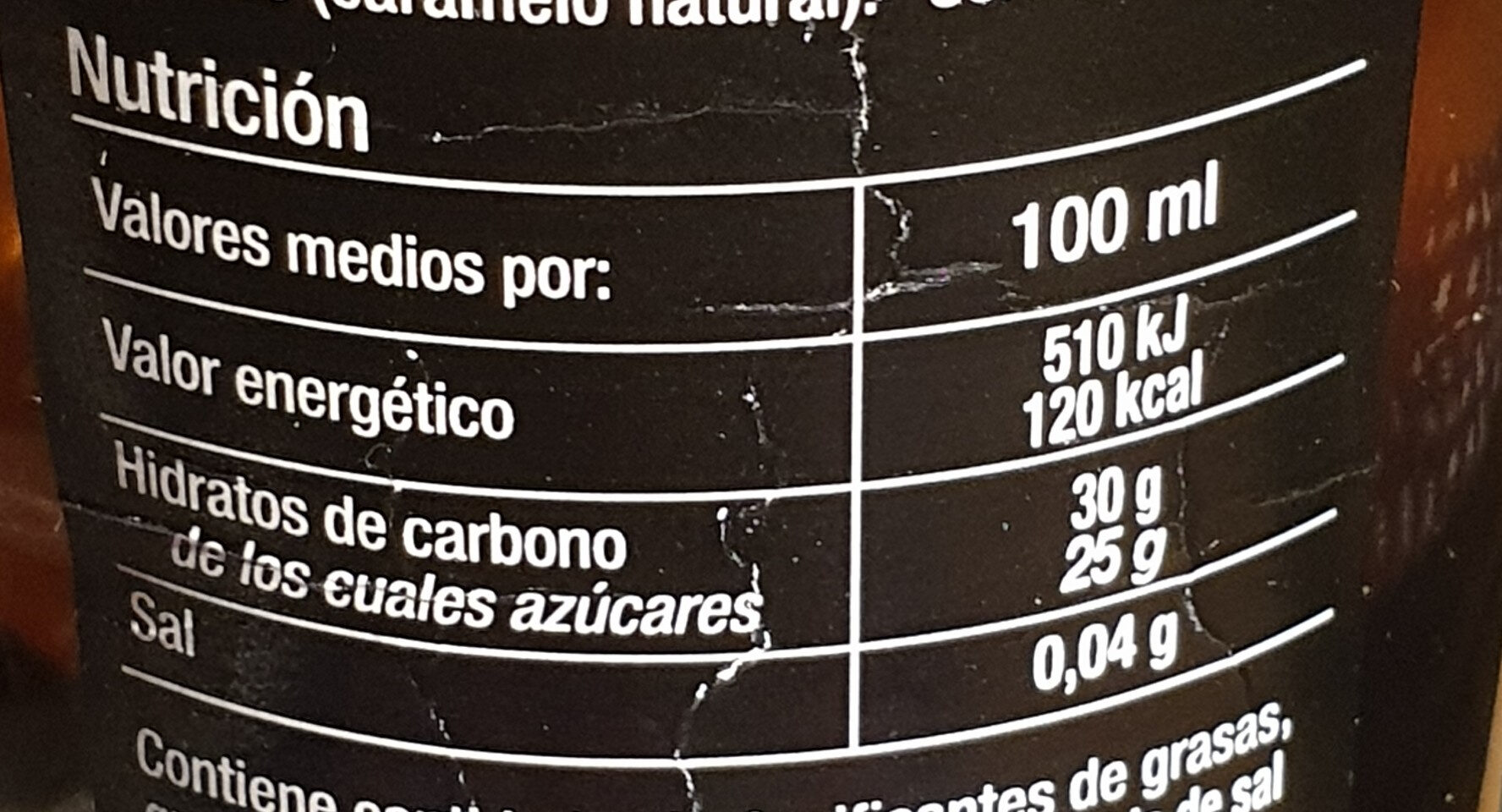 Crema de Jerez balsámica - Nutrition facts - es